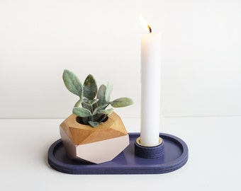 Candle holder with a tray funcion for geometric mini planter - Home Decor