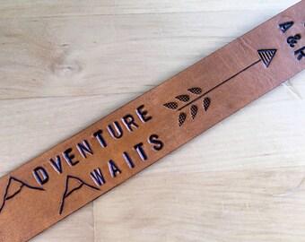 Leather Bookmark Adventure Awaits Mountain Bookmark Third Anniversary Gift Leather Anniversary Gift Personalized 3rd Anniversary Gift