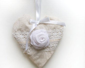Heart Pillow valentines day decor, wedding gift, wedding white decor,  valentine heart,  cottage chic, hanging heart, fabric ribbon lace