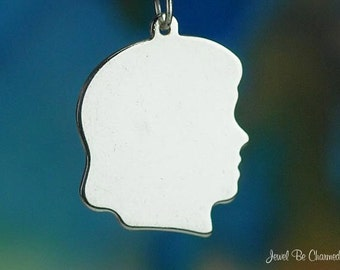 Sterling Silver Female Child Head Blank Girl Charm Profile Solid .925