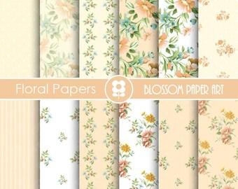 Wedding Digital Paper, Floral Peach Digital Paper Pack, Digital Paper Pack, digital backgrounds, Cottage Papers, Floral Wedding Papers -1670