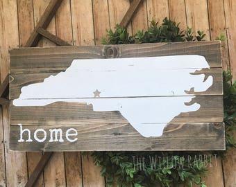NC Home | Home State | North Carolina | Farmhouse Decor | Home | North Carolina Sign | NC Home Sign