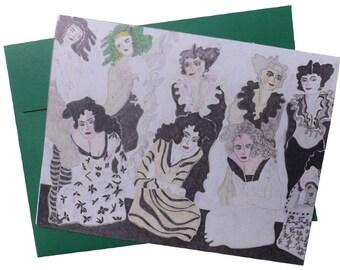 4 x 6 art note card   'Green Hair'