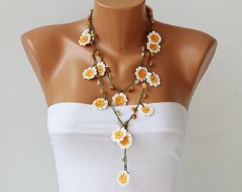 Crochet bead necklace  jewelry, crochet necklace, crochet flower necklace