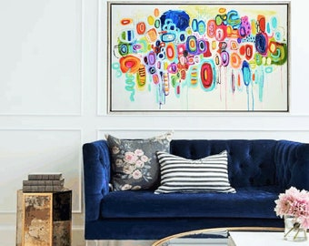 """multicolors 64"""" abstract painting , nice  ,wall art, acrylic painting by jolina anthony"""