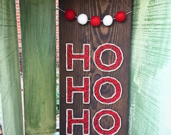MADE TO ORDER String Art Ho Ho Ho Sign with Red and White Pom Garland