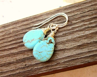Turquoise Earrings Dangle. Sterling Silver Wire Wrapped Turquoise Howlite Dangle Earrings. Teardrop Turquoise Earrings. Turquoise Jewelry