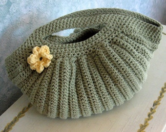 Crochet Purse Pattern Pleated Clam Shell Shape With Flower Trim PDF Easy To Make Instant Download