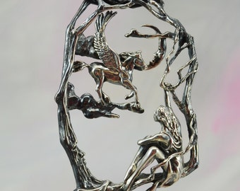 """Magical Pegasus & Maiden """"Wait No Longer"""" Fantasy Jewelry Pendant in Sterling Silver"""