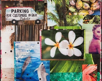 GLASSED, PARADISE HAWAII, 4x4 and Up, Hand Painted, re-collaged, wood panel, Hawaii, Dolphins, Plumeria, Ocean Art, wall art, gift