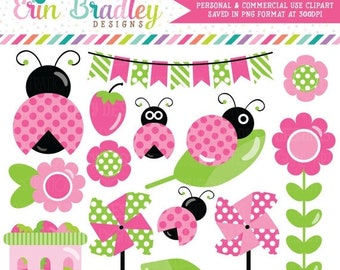 80% OFF SALE Ladybug Pink Clipart Graphics with Strawberries Bunting Pinwheels Commercial Use Clip Art