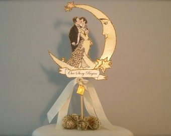Great Gatsby Wedding Cake Topper - Book Themed - Bride and Groom- Crescent Moon and Stars- Featured in Brides Magazine