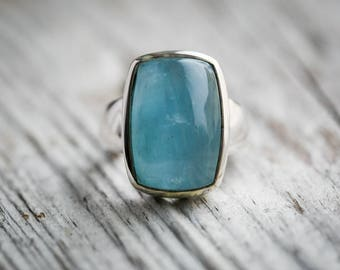 Aquamarine Cabochon Ring 7.5 Blue Aquamarine Cabochon Ring size 7.5 ~ Aquamarine March birthstone - Aquamarine Ring - Aquamarine Ring