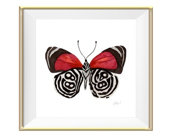 88 Red Butterfly Watercolor Print - Home Decor / Wall Art