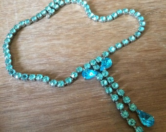 glass bead choker necklace green/turquoise