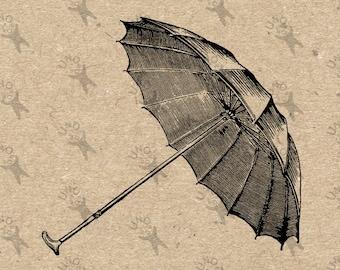 Vintage image Cane Umbrella Instant Download Digital printable picture clipart graphic - fabric transfer, burlap, iron on etc HQ 300dpi