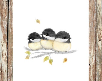 Bird painting, chickadees, chickadee painting, baby bird, baby chickadees, bird home decor, mothers day gift,  chickadee prints, bird prints