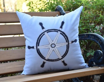 Ship Wheel 16 inch Blue Decorative Geometric Throw Outdoor Pillow