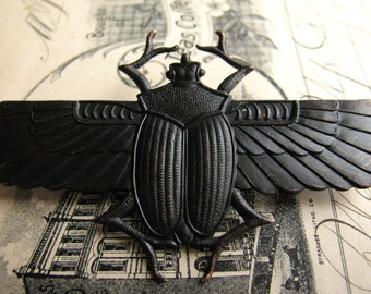Egyptian scarab beetle with wings - dark antiqued brass - 70mm - black patina - Art Deco - giant, large, huge - OR-FF-013