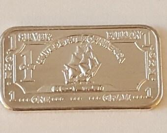 Pure Silver Ingot ~ 1 Gram .999 Fine Silver Ingot ~ Ship Design