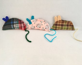 3 Blind Mice; set of organic catnip cat toys