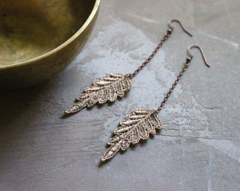 champagne gold earrings // PERSIS // lace earrings / leaf /  long earrings / bohemian / festival jewelry gift - under 25