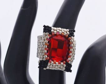 OOAK Hand Beaded Cocktail Ring Swarovski Statement Ring Red, Silver and Black Ring New Years Eve Ring Birthday Gift for Her