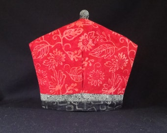 Red Hawaiian Print Batik Tea Cozy, Coffee Cozy & French Press Cozy Quilt