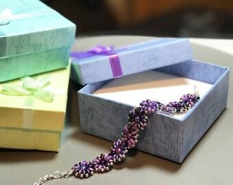 Purple Daisies Handmade Beaded Adjustable Bracelet