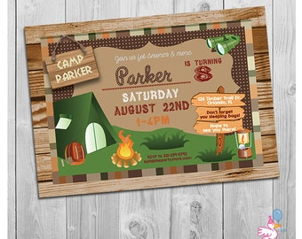 Camping Invitation, Boy Camping Invitation, Camp Birthday Invite, Camp Party Invitation for Boys