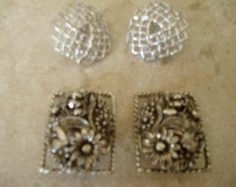 Zwei paar Vintage Sarah Cov-Clip auf Ohrringe Silber Ton
