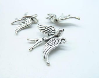 20pcs 22x32mm Antique Silver Opening Wings Flying Swallow Charm Pendant c6594