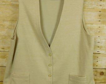 Mr Alex by Alex Coleman Woman Sleeveless Cover Top Vest XL 1968-1970s Tan