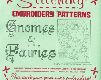 Hand Embroidery Patterns   Sublime Stitching Reusable Iron On Embroidery Pattern, Fantasy, Fairy Garden - Gnomes and Fairies