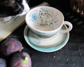 Tea cup with handmade ceramic saucer, with English style white and blue cat