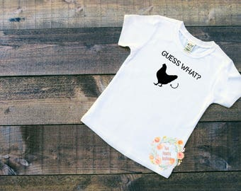 Guess what chicken/ youth size/ chicken/ youth chicken shirt/ funny shirt/ youth shirt/ funny youth shirt/ farm/ farmers/ chicken butt