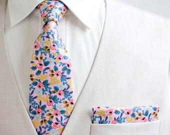 Necktie, Neckties, Mens Necktie, Neck Tie, Floral Neckties, Groomsmen Necktie, Groomsmen Gift, Rifle Paper Co - Rosa In Violet