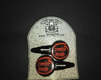 "1"" Little ""Zombie Inside"" button Hairclips, Psychobilly, Goth, Punk, Rockabilly"