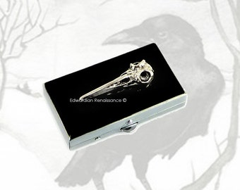 Raven Skull Pill Box Inlaid in Hand Painted Enamel Crow Embellished Edgar Allan Poe Inspired Rectangle Metal Box Custom Colors Personalized