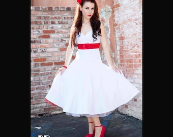 Sale! Vintage White Wedding Dress, Pin Up COUTURE 2-in-1 Multiway Halter, Retro Criss Cross Rockabilly Swing Dress