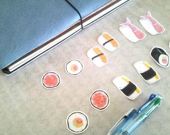 Sushi Night Sticker Set, unique, hand cut, Art Stickers