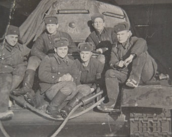 Tank Men, Vintage Soviet Army Photo Soldiers, USSR, Russian Soldier, Soviet Russian soldiers, Black and white photo, Soviet Army Uniform