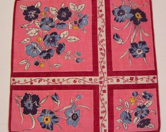 Vintage Red Hankie With Blue Flowers