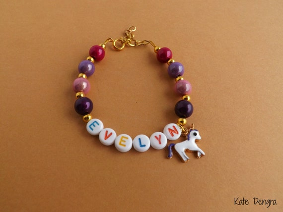 Unicorn Name Bracelet Bright Jewel Colors and Candy Font Letters Personalized Unicorn Jewelry by Kate Dengra
