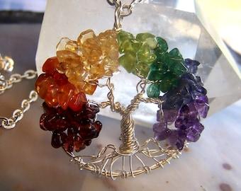 Tree of Life necklace - Rainbow Tree of life - Garnet Carnelian Citrine Peridot Emerald Iolite Amethyst - Sterling Silver gemstone mixed