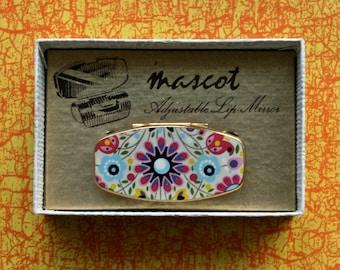 Boxed Mascot Enamel Lipstick Holder Fab Vintage Hippy Flower Power Design