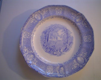 Panama Blue Transferware Plate Ca. 1850s - 1 of 2 Available