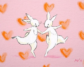 Valentine print, Meant to Be- PRINT, bunnies print, woodland animals