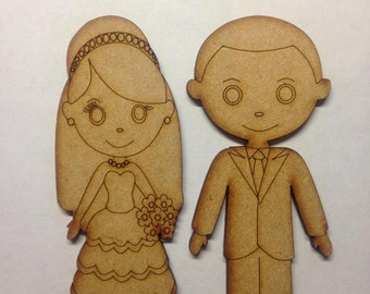 wooden bride and groom wedding decoration shape