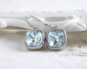 Swarovski Earrings, Light Azore, Swarovski Crystal Earrings, Gift for Her, Cushion Cut, Light Aquamarine, March Birthday